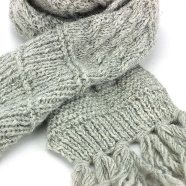 Chunky Wool Knit Scarf - Light Grey
