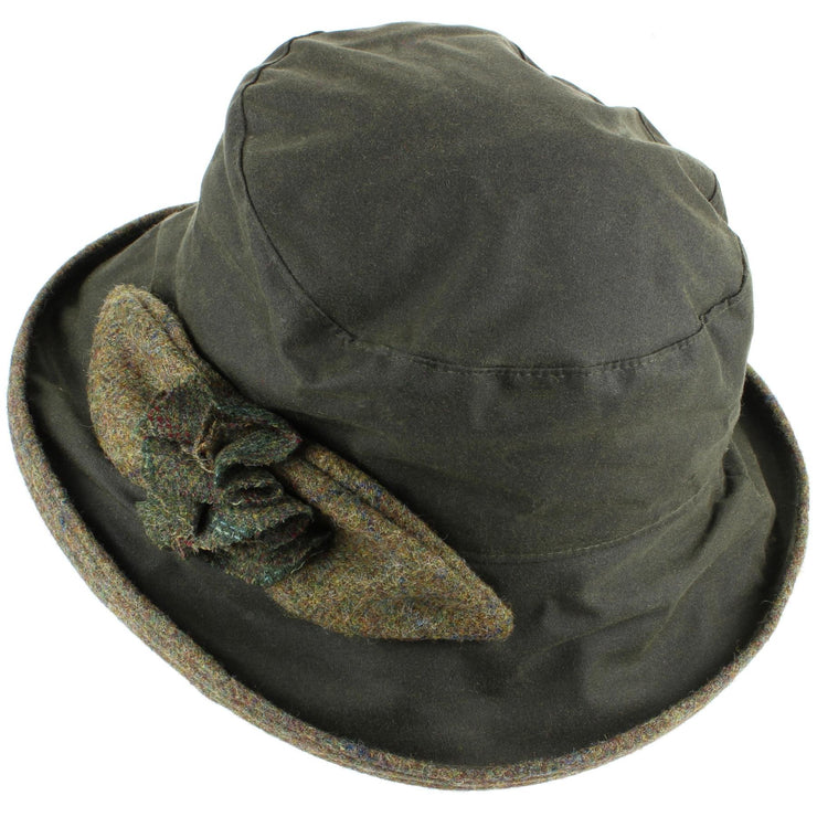 Ladies Waterproof Wax Cloche Hat with Tweed Rose and Brim - Green (Dark Green Tweed)