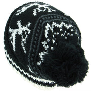 Chunky Slouch Bobble Beanie Hat with Reindeer Pattern - Black