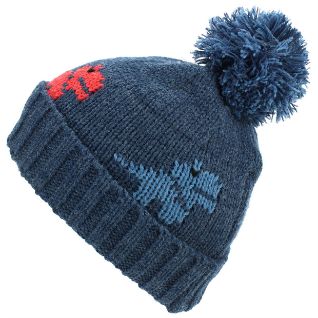 Kids dinosaur Bobble Beanie Hat - Navy