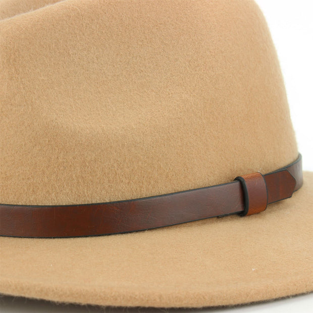 Wool Felt Fedora with Leather Band - Beige