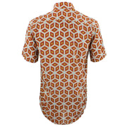 Tailored Fit Short Sleeve Shirt - Orange Abstract Diamonds
