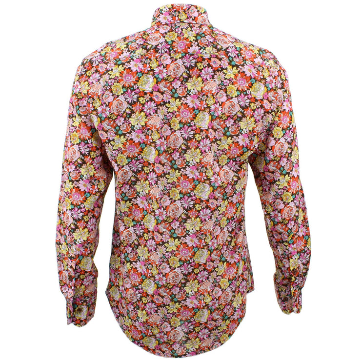 Tailored Fit Long Sleeve Shirt - Pink Yellow & Red Floral
