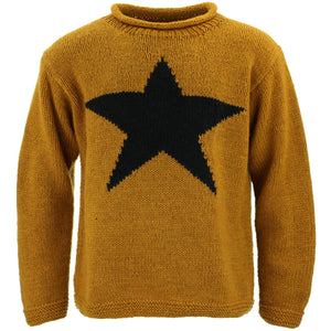 Chunky Wool Knit Star Jumper - Mustard & Black