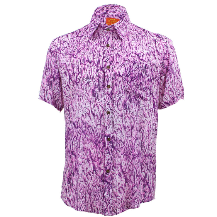 Tailored Fit Short Sleeve Shirt - Abstract Purple Leaves