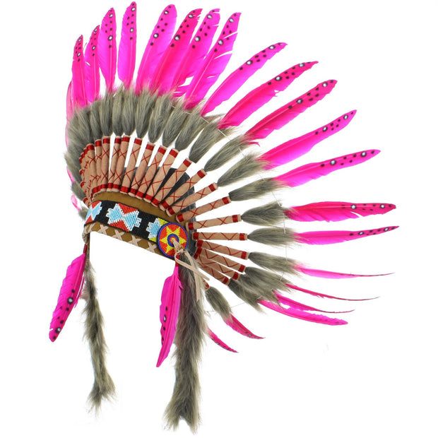 Native Amercian Chief Headdress - Pink Feathers (Brown Fur)