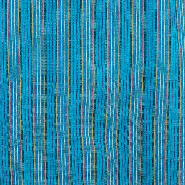 Cotton Grandad Collar Shirt - Blue Stripe