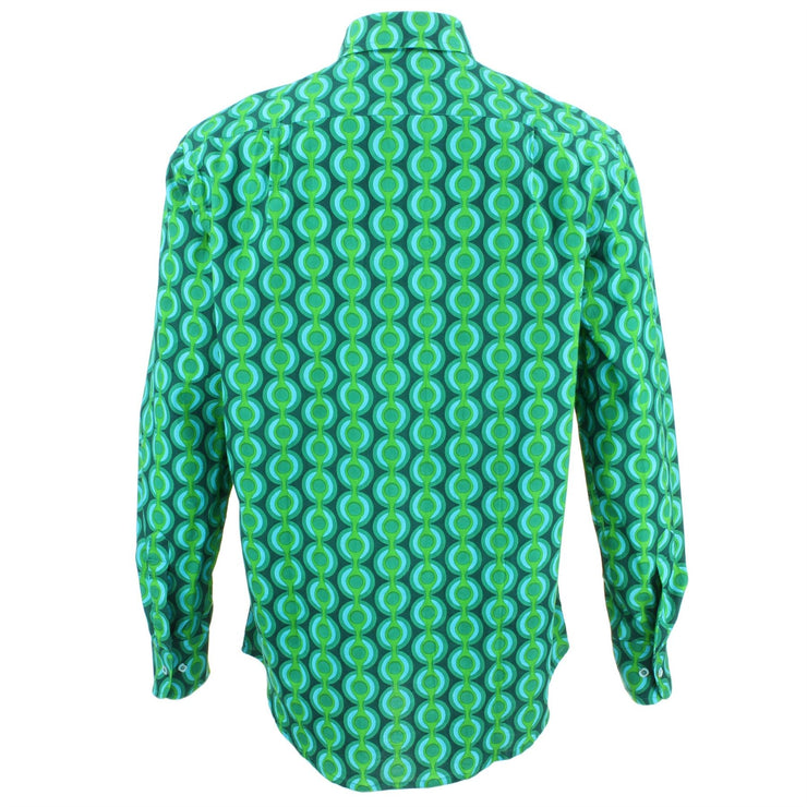 Regular Fit Long Sleeve Shirt - Green & Blue Circles