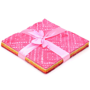Cotton Batik Pre Cut Fabric Bundles - Charm Pack - Love & Pink