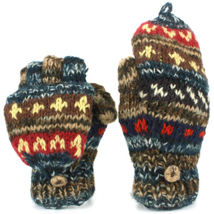 Chunky Wool Knit Fingerless Shooter Gloves - Abstract - Blue & Brown