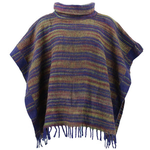 Hooded Square Poncho - Purple & Brown