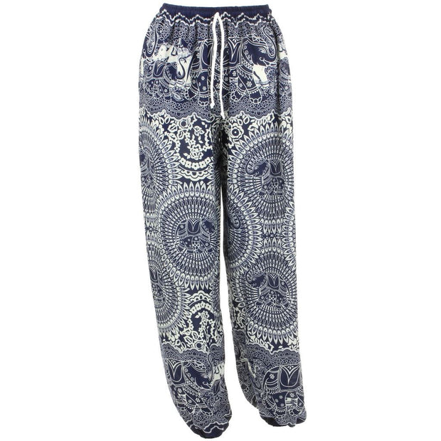 Loose Ali Baba Harem Elephant Trousers Pants - Purple Circles