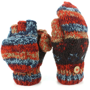 Chunky Wool Knit Fingerless Shooter Gloves - Abstract - Red