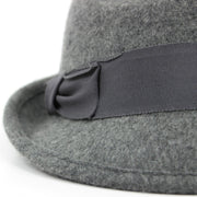 Wool felt trilby hat with wide band and side bow - Light grey