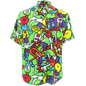 Slim Fit Short Sleeve Rayon Shirt - Tiffy Print - Green