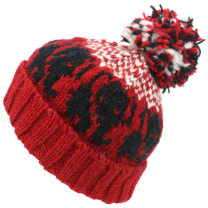 Wool Knit Bobble Beanie Hat - Elephant - Red White