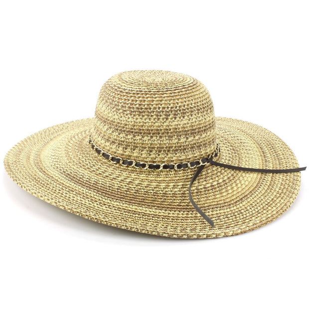 Ladies Straw Wide Brim Floppy Hat - Brown