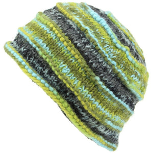 Chunky Ribbed Wool Knit Beanie Hat with Space Dye Design - Green & Blue