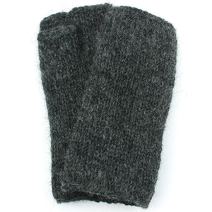Wool Knit Arm Warmer - Plain - Charcoal Grey