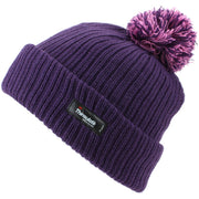 Childrens Beanie Hat with Turn-up and 2-Tone Bobble - Purple