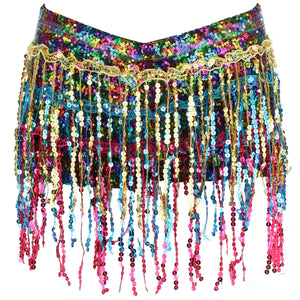 Sequin Tassel Hot Pants - Rainbow