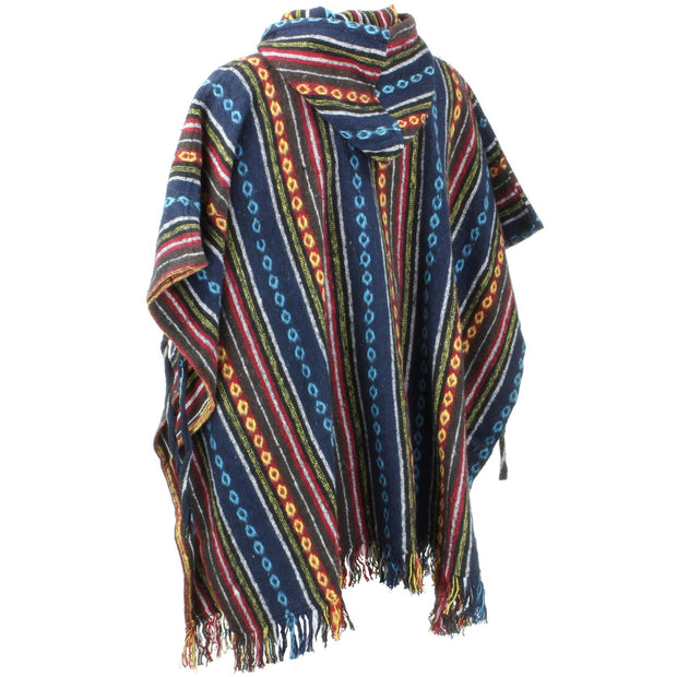 Brushed Cotton Hooded Poncho - Blue Red