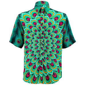Regular Fit Short Sleeve Shirt - Peacock Mandala - Green