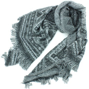 Woven Wool Aztec Scarf - Grey