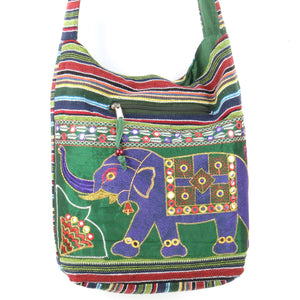 Embroidered Elephant Canvas Sling Shoulder Bag - Green