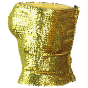 Sequin Strapless Top - Gold