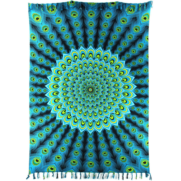 Viscose Rayon Sarong - Peacock - Bright Blue