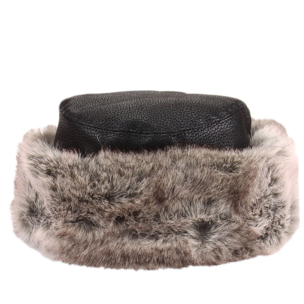 Flat Top Faux Leather Hat with Faux Fur Cuff - Black