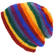 Wool Knit Baggy Beanie Hat - Rainbow