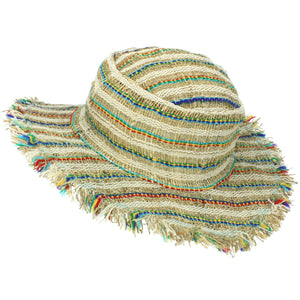 Frayed Brim Hemp Sun Hat - Multi Stripe