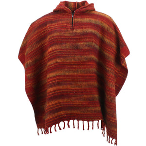 Hooded Square Poncho - Dark Red & Gold