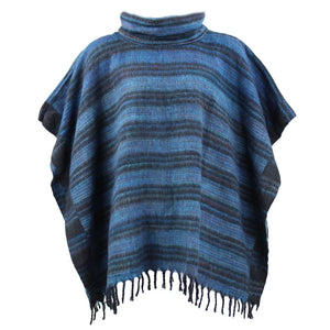 Hooded Square Poncho - Blue & Black