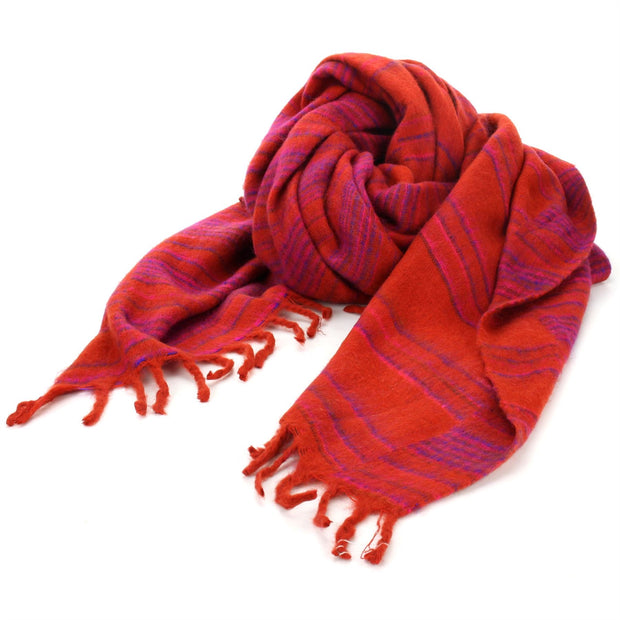 Vegan Wool Shawl Blanket - Stripe - Red Pink