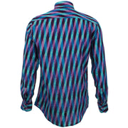 Slim Fit Long Sleeve Shirt - Overlapping Art Deco