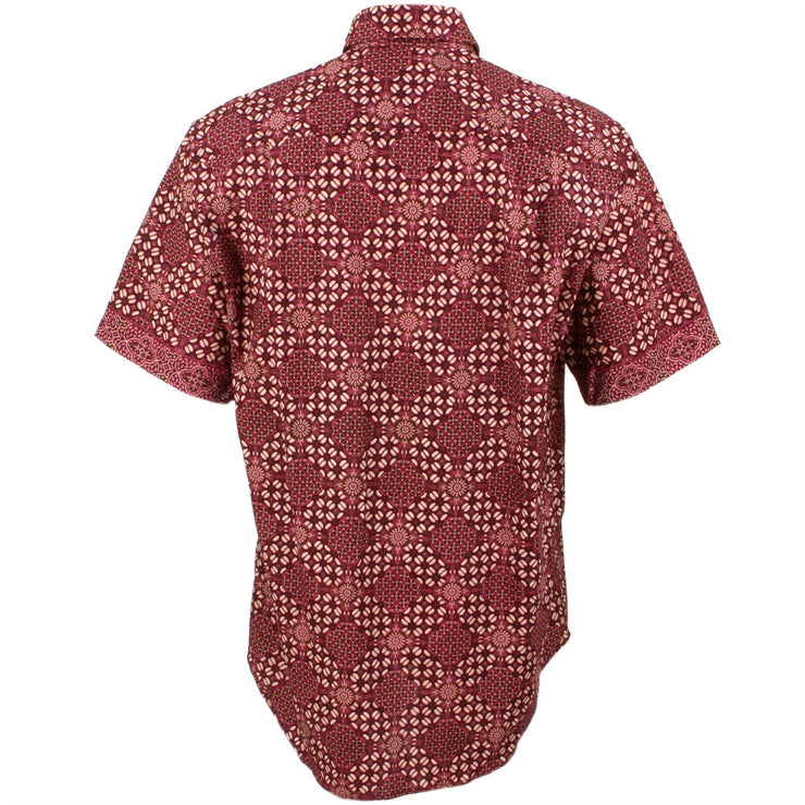 Regular Fit Short Sleeve Shirt - Red Geometric