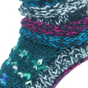 Chunky Wool Knit Abstract Pattern Slipper Socks - Blue