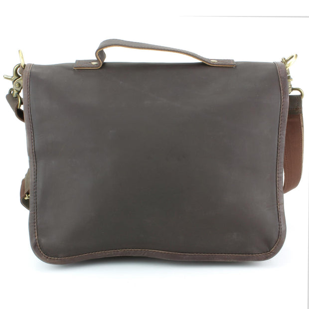Real Leather Two Compartment Satchel - Dark Brown