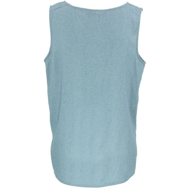 Embroidered Sleeveless Top - Blue Grey