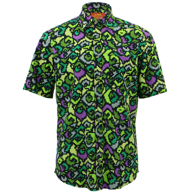 Regular Fit Short Sleeve Shirt - Pixellated Space Flower