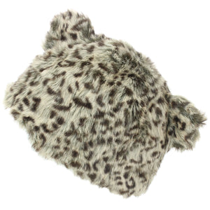 Animal Print Beanie Hat with Ears - Brown
