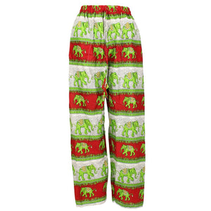 Elephant Print Ali Baba Trousers - Contrast Stripes (Red & Green)