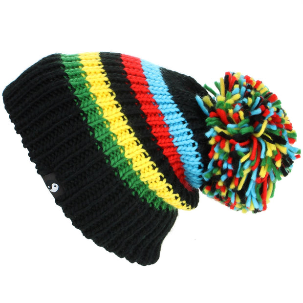 Chunky Acrylic Knit Beanie Hat with a MASSIVE Bobble - Black & Rainbow