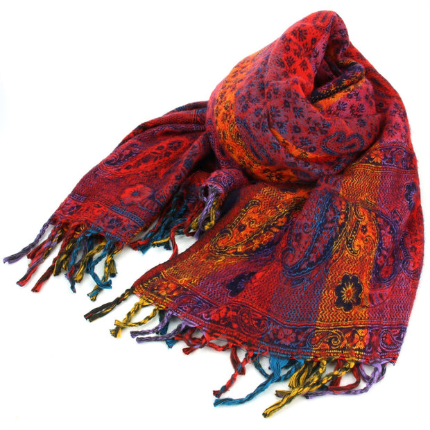 Vegan Wool Shawl Blanket - Paisley Stripe - Red & Pink