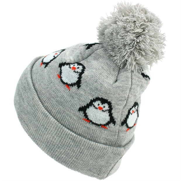 Kids Penguin Bobble Beanie Hat - Grey