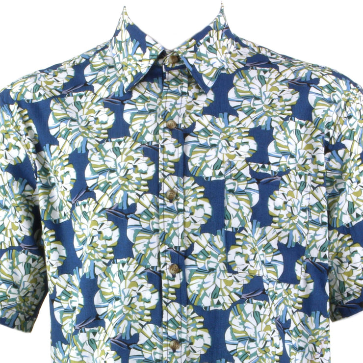 Regular Fit Short Sleeve Shirt - Blue & Green Floral Geometric