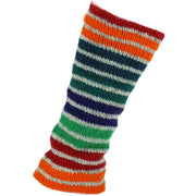 Chunky Wool Knit Leg Warmers - Stripe Green